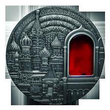 2012 Palau Moscow Kremlin Mineral Art 2Oz Huge Antique Silver Coin/Medal Gem* BU