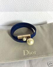"""Nuevo Piel Azul Perla Dior Oro Gargantilla Pulsera 13.5"""""""