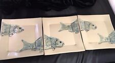 """American Potter Lorna Newlin """"Interlocking"""" Serving Platters w/  Fish CA New"""