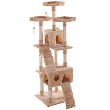 """66"""" Cat Tree Pet Scratching Post  Tower Condo Furniture Kitty Play House Beige"""