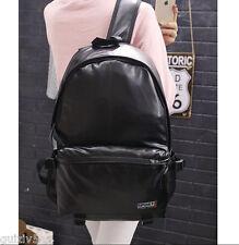 Men's Women's Backpack Black PU Leather Sport Shoulder Travel School Book Bag