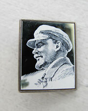 Russian Soviet Political Communist Mirror Pin Yellow LENIN in hat suit В И Ленин