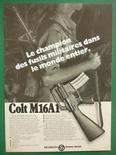 1976-77 PUB COLT FIREARMS COLT M16 A1 RIFLE FUSIL 5.56 MM ORIGINAL FRENCH AD