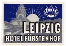 Hotel Fürstenhof LEIPZIG Germany luggage label Kofferaufkleber