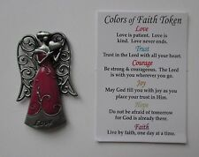 s pink LOVE heart COLORS OF FAITH POCKET TOKEN ANGEL charm love never ends