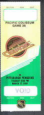 Vancouver Canucks vs Pittsburgh Penguins March 17 1981 Void/Unissued Ticket Stub