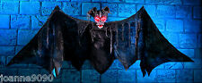 GIANT HALLOWEEN BAT HANGING HORROR DECORATION PROP WITH LIGHT UP EYES AND SOUND