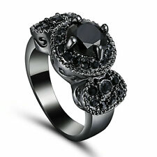Size 6 Womans/Man's Black Sapphire Black Gold Filled Fashion Wedding Ring Gift