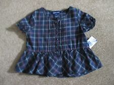 Ralph Lauren Girls Size 2T Navy Blue Plaid SS Shirt  NEW
