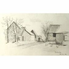 Butcombe somerset stone granges portefeuille paysage dessin 50s retro g holloway