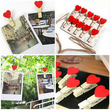 10Pcs Cute Red Love Hearts Wooden Pegs Photo Clips Crafts Wedding Party Decor