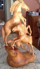 Hand Carved Wooden 3-Horse Sculpture