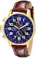 Invicta Gold Watch Reloj Men Hombre Lefty Crystal Window Hand Leather Band Arm