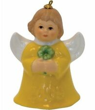 Goebel Angel Bell 2009 Annual Ornament NIB Yellow Holding Clover 104145 NEW BOX
