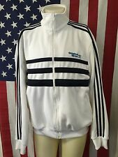 Vintage�� Adidas Originals White Track Top Blue Striped Jacket Men's Sz Large L