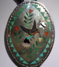 Turquoise Hummingbird Fine Bolo Tie By Sammy Esther Guardian Zuni Sterling