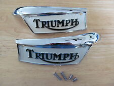 82-9700/1P TRIUMPH T100 T120 T140 T150 TR7 CHROME BLACK CREAM TANK BADGE (PR)