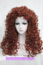 Women wig Long Wine red Curly wig Tight Curls Natural Hair wigs + Free Wig cap