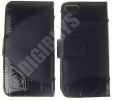 Black Crocodile Skin Style Leather Case Cover with Card Holder for iPhone 5/5S
