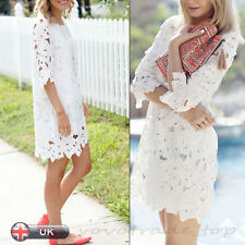 Women Summer Lace Floral Party Dress Beach Casual Short Mini Dress Free Shipping