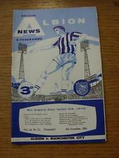 08/12/1962 West Bromwich Albion v Manchester City  . Item In very good condition