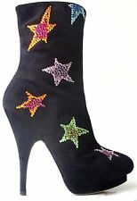 new $1585 Giuseppe ZANOTTI black JEWELED STARS platform ANKLE BOOTS 36 6 AMAZING