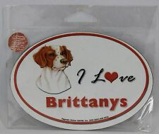 "I Love Brittanys Dog Magnet Magnetic Sticker Oval 5.25"" x 3.75"" NEW"