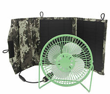 Portable 6'' Green Cooling Fan Powered by 10W Solar Panel & USB Port
