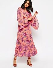 Free People Floral Print Melrose Bell Sleve Back Cut Out Maxi Dress 6 Medium