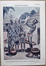 VALLEE Original 1931 French Vintage Art Print PARIS COLONIAL EXHIBITION NATIVES