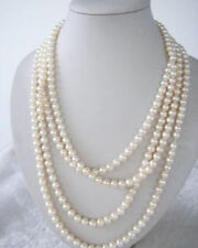 SUPER LONG 100 INCH WHITE FRESHWATER REAL PEARL NECKLACE 7-8MM