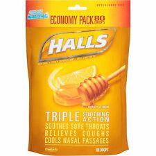Halls Honey-Lemon Menthol Drops Cough Suppressant 80 Ct, 2 Pack