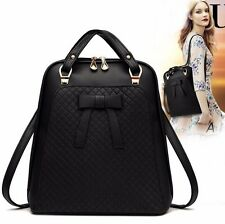 Womens PU leather bow zipper shoulder bags Korean casual travel backpack Black