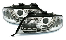 Chrome clear Headlights front lights with LED DRL for AUDI A6 4B C5 97-01