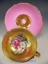 RARE PINK PARAGON ROSES FLOWERS HEAVY GOLD DEMITASSE CUP & SAUCER TEACUP