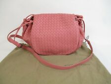 Authentic BOTTEGA VENETA Intrecciato Leather Pink Messenger&Cross-body Bag #5512