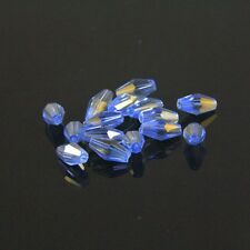 40pcs Swarovski  4x8mm Long Bicone Crystal bead B Blue