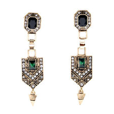 Costume Fashion Earrings Clips on Gold Art Deco Fine Green Emerald Vintage J8A7