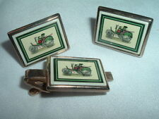 VINTAGE ANTIQUE AUTOMOBILE ENAMEL PORCELAIN CUFFLINKS N TIE CLASP SET N GIFT BOX