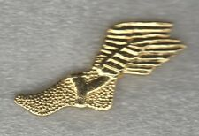 High School Winged Foot running Letterman Jacket Pin gold tone