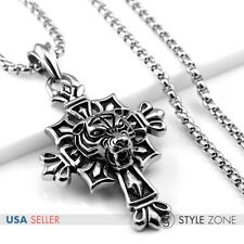 Men Stainless Steel Gothic Tiger Head on Cross Pendant w Smooth Box Necklace Q18