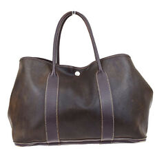 Authentic HERMES Garden Party PM Hand Bag Amazonia Leather Brown France 30U146