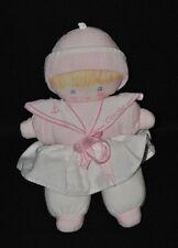 Peluche Doudou Poupée Fille COROLLE Marin Blanc Bonnet Rose 24 cm TTBE