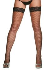 Black Fishnet Stockings Thigh High With Lace Top - One Size Fits Most (8-14)