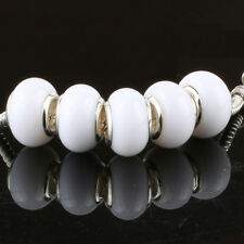 5pcs Jelly White MURANO bead LAMPWORK For European Charm Bracelet