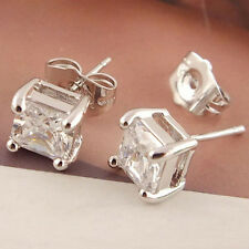 Nobby 925 Sterling Silver  Clear Square Cubic Zirconia Ear Studs Earrings