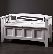 Southern Enterprises Criss-Cross Woodwork Cutler Storage Bench In White BC2826