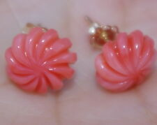 ANTIQUE 14K ANGEL SKIN RED CORAL SWIRL DOME CARVED GORGEOUS STUD EARRINGS