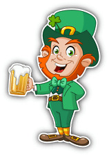 "Leprechaun Beer Funny Cartoon Car Bumper Sticker Decal 3"" x 5"""