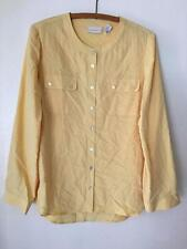 Chico's Pale Yellow Long Roll Sleeve Basic Essential Button Front Shirt sz 1